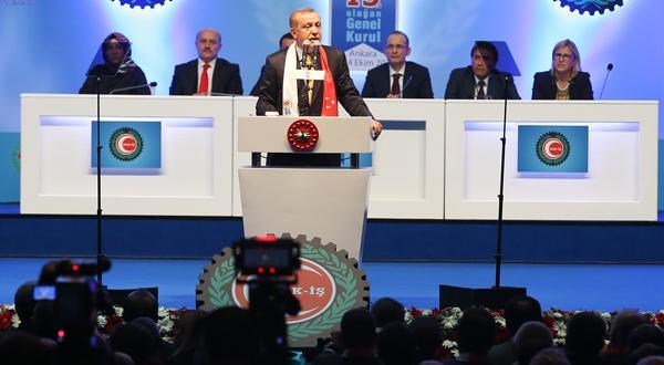 Erdoğan HAK-İŞ Genel Kurulu'nda konuştu
