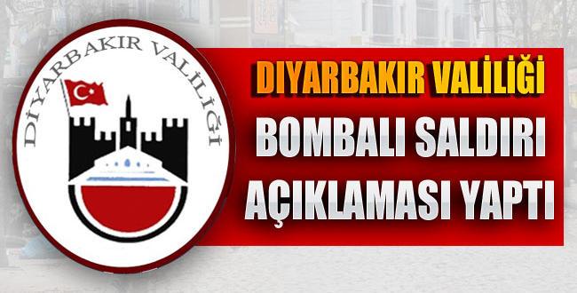 """Diyarbakır Valiliğin'den """"bombalı saldırı"""" açıklaması"""