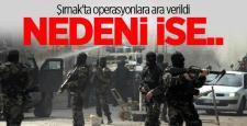 """Şırnak'ta operasyona """"Yoğun sis"""" nedeniyle ara verildi !"""