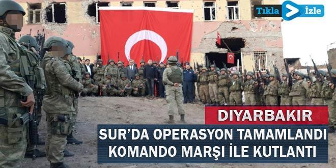 Sur'da, asker mermi yaktı, zafer kutladı