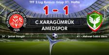 Amedspor, Karagümrük'ü mağlup edemedi 1-1
