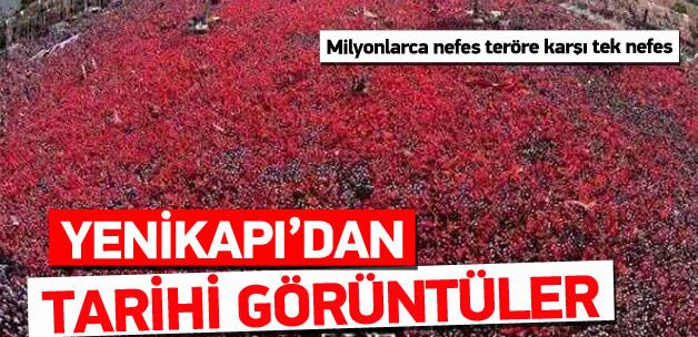 Milyonlar Yenikapı'ya akın ediyor, Demokrasi mitingi başladı.